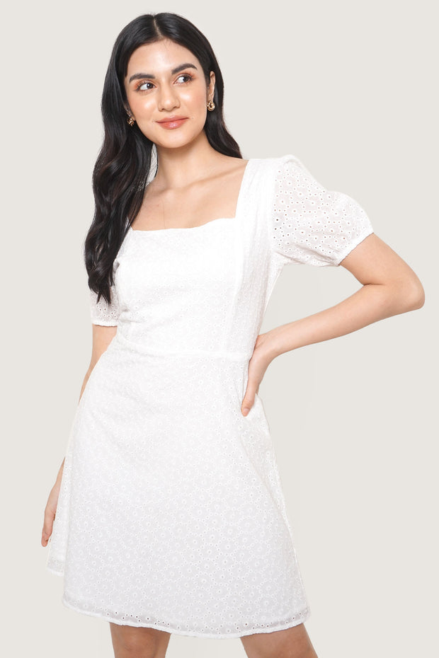 Square Neck Eyelet Dress
