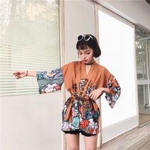 Load image into Gallery viewer, Kimono Style Vintage Shirt Jacket Amber 3