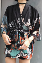 Load image into Gallery viewer, Kimono Style Vintage Shirt Jacket Black 3