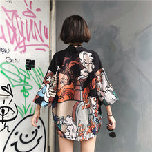 Load image into Gallery viewer, Kimono Style Vintage Shirt Jacket Black 1