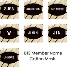 Load image into Gallery viewer, BTS Member Name Cotton Face Mask