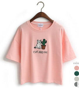 Pink Cat and Me Cactus T-Shirt