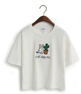 White Cat and Me Cactus T-Shirt