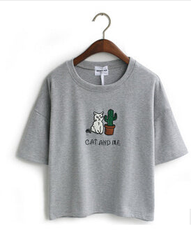 Dark Grey Cat and Me Cactus T-Shirt