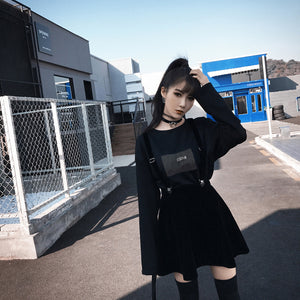 Black Braces Sustainers Skirt