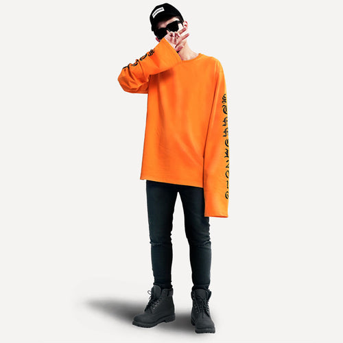 Oversized Long Sleeve Shirt Orange