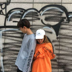 Oversized Long Sleeve Shirt Grey and Orange