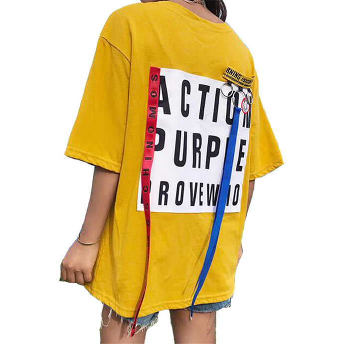 Loose Ribbon T-Shirt Yellow