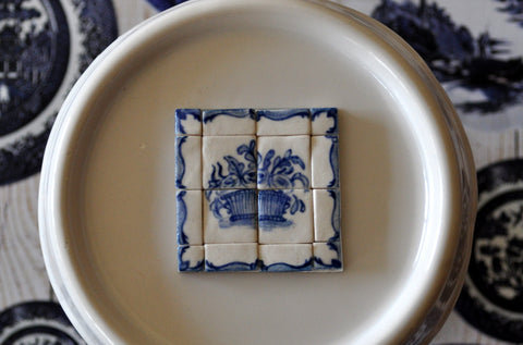 Blue & White Hand Painted Tile Set #3 by Elmarie Wood-Callander