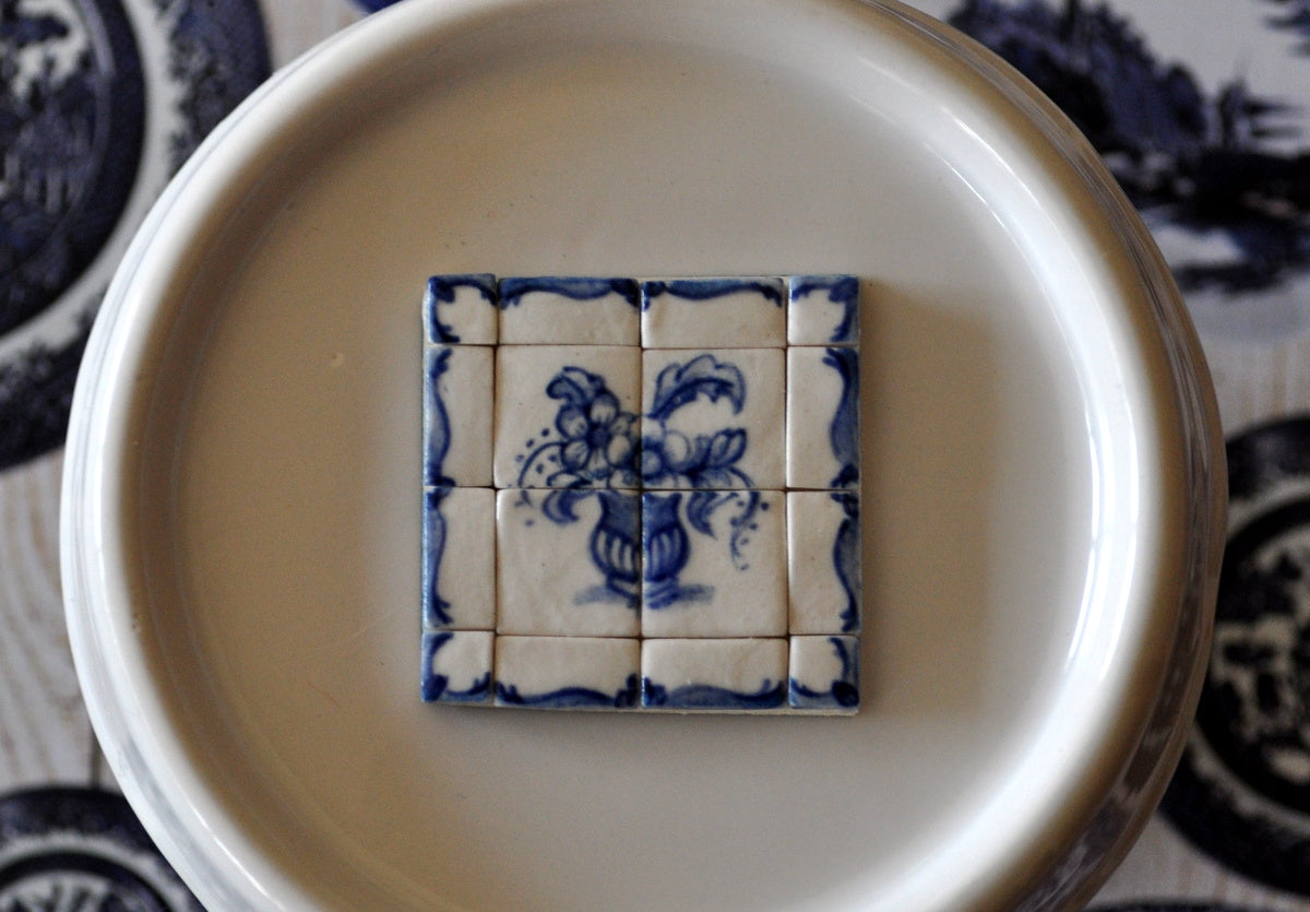 Blue & White Hand Painted Tile Set #4 by Elmarie Wood-Callander