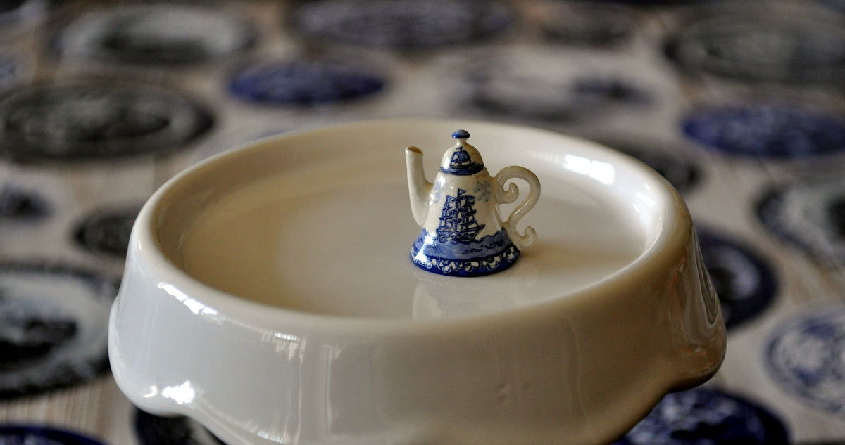 Blue & White Hand Painted Teapot by Pam Jones