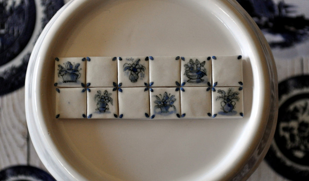 Blue & White Hand Painted Tile Set #2 by Elmarie Wood-Callander