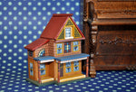 ESTATE TREASURE: Hand Painted Little Dollhouse with Wallpapered Rooms