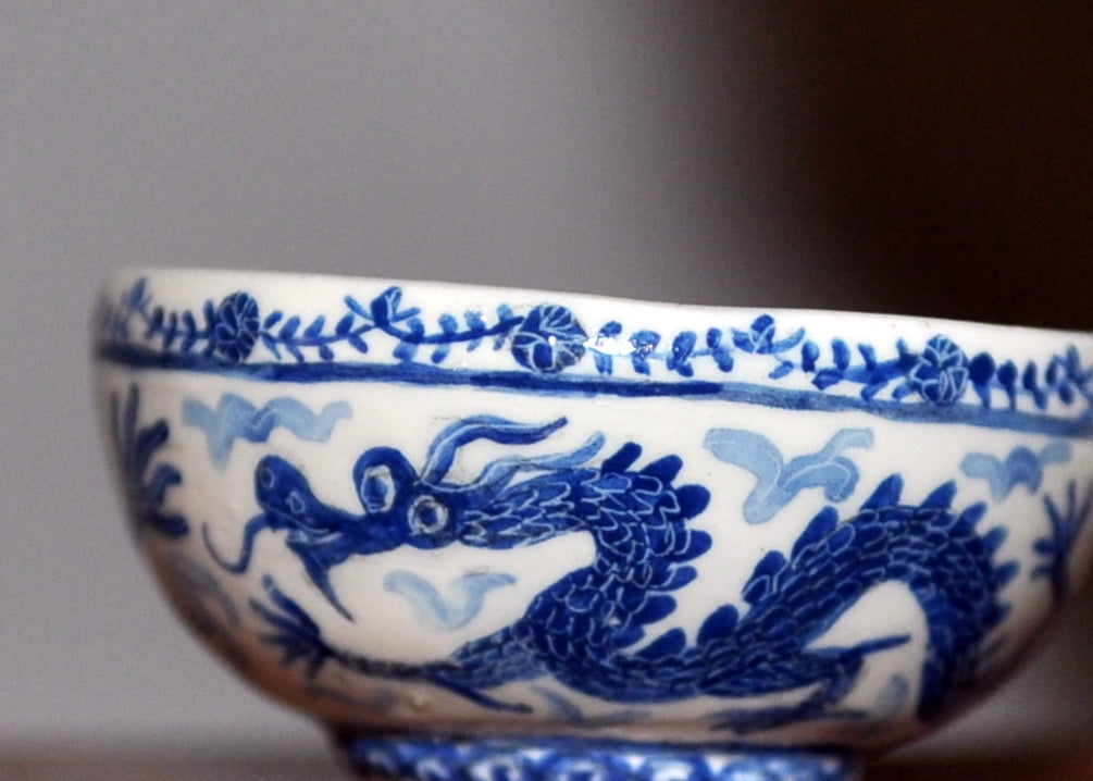 Hand Painted Dragon Bowl by Pam Jones