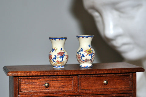 Pair of Hand Painted Floral Vases by Pam Jones