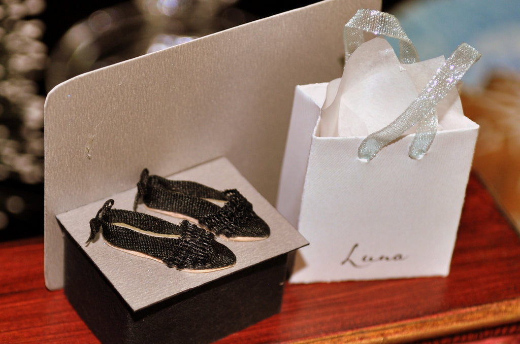Pair of Luna Black Flat Shoes with Bow Details by Rika Moon