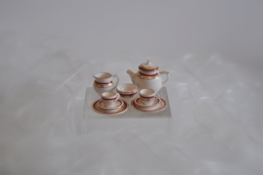 ESTATE TREASURE: Sovereign Ribbon Design Tea Set for Two by Stokesay Ware