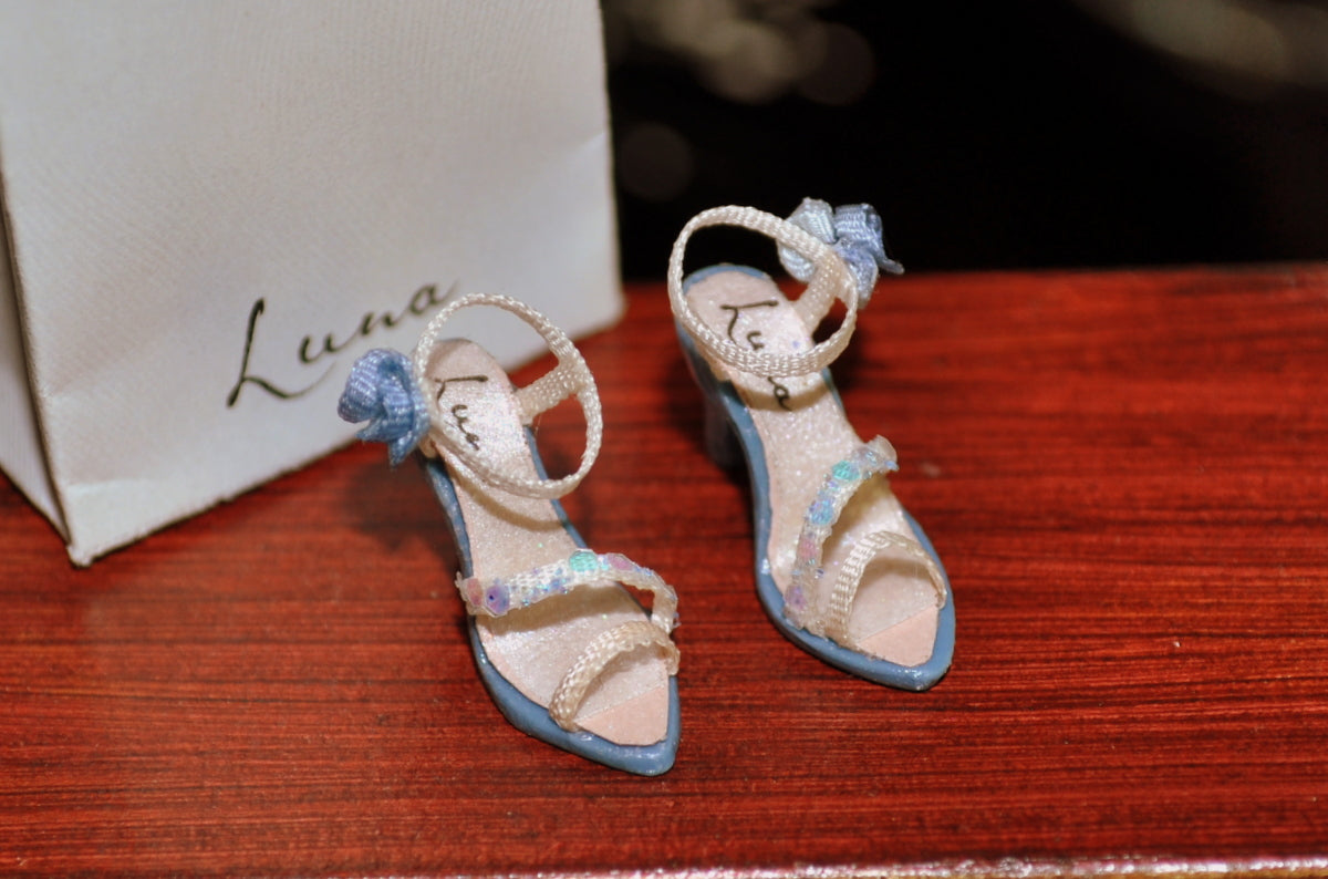 Pair of Luna Cream & Blue High Heels with Sequin & Rosette Details by Rika Moon