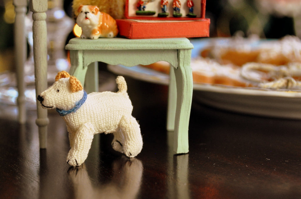 Fully Jointed White Dog Toy with Blue Collar by Jenny Tomkins
