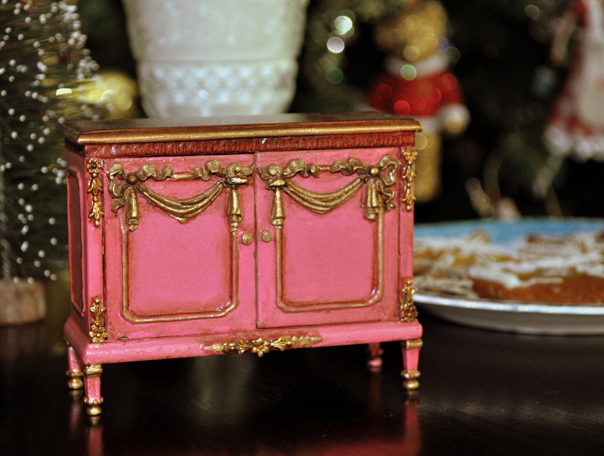 Estate Treasure: French Style Embellished Two Door Pink Cupboard by Maritza Moran