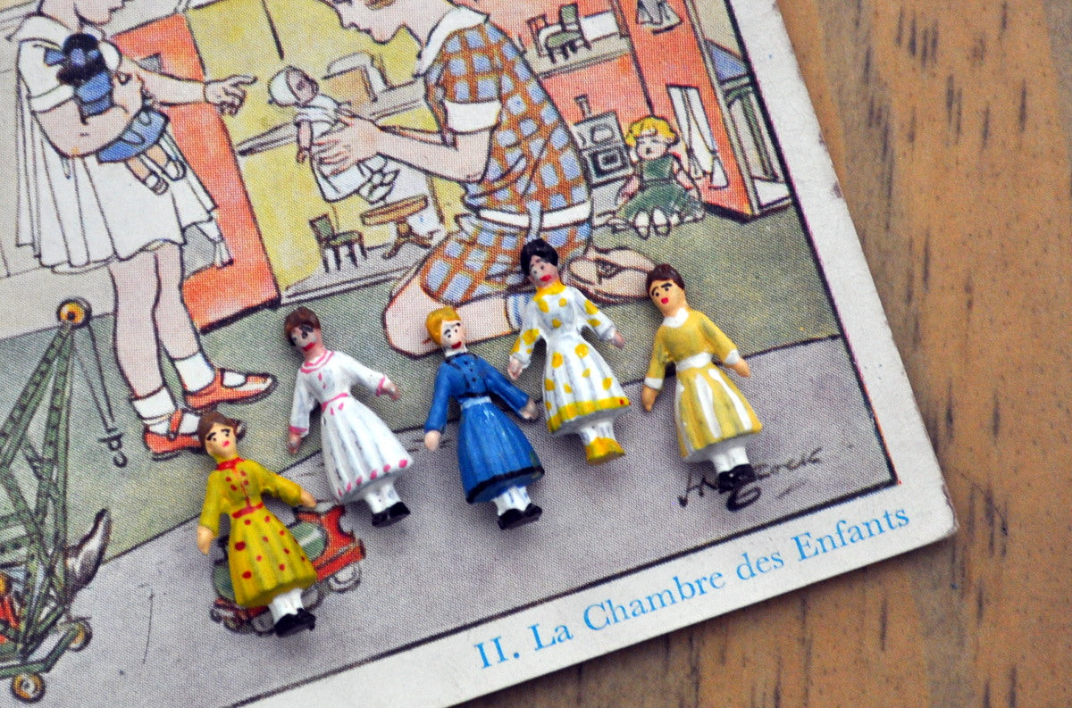 ESTATE TREASURE: Set of Five Tiny Hand-painted Dolls