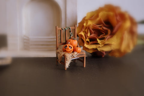 Half Scale Chair with Halloween Pumpkins by Rika Moon