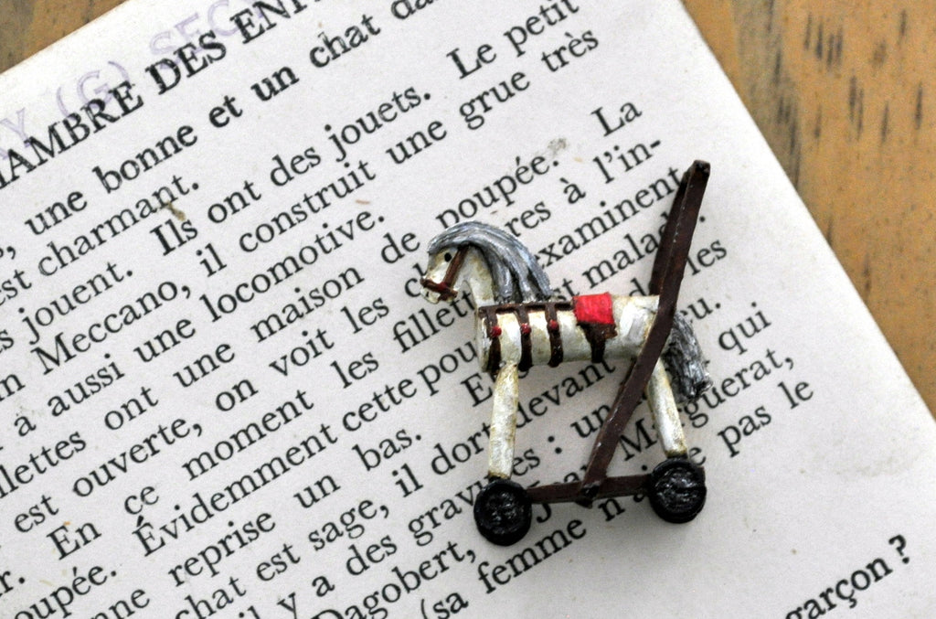 ESTATE TREASURE: Working Hand-painted Horse Push Along Toy