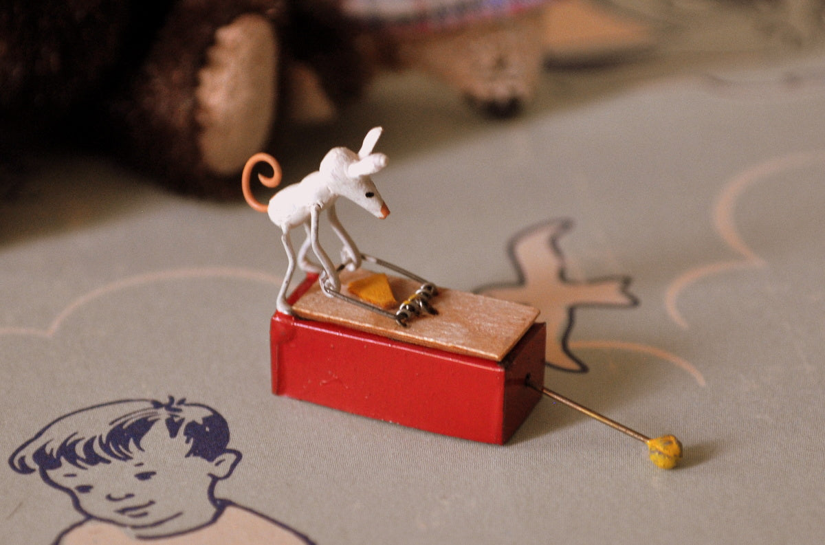 ESTATE TREASURE: Muscular Mouse Mechanical Toy by St. Leger