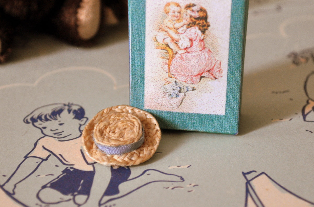 ESTATE TREASURE: Tiny Doll's Doll Straw Hat by Martie's Miniatures
