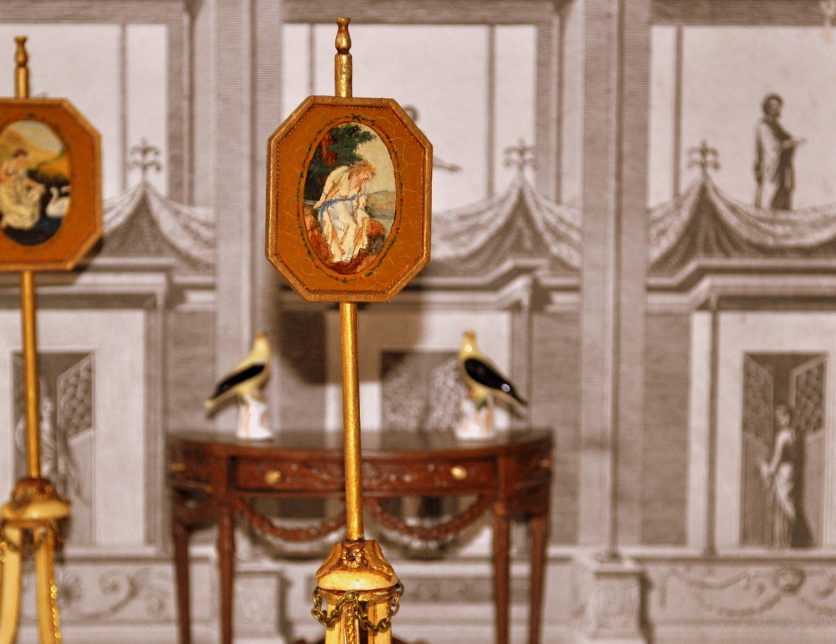 ESTATE TREASURE: Hand-painted French Fire Screen Pole No. II by Janet Reyburn