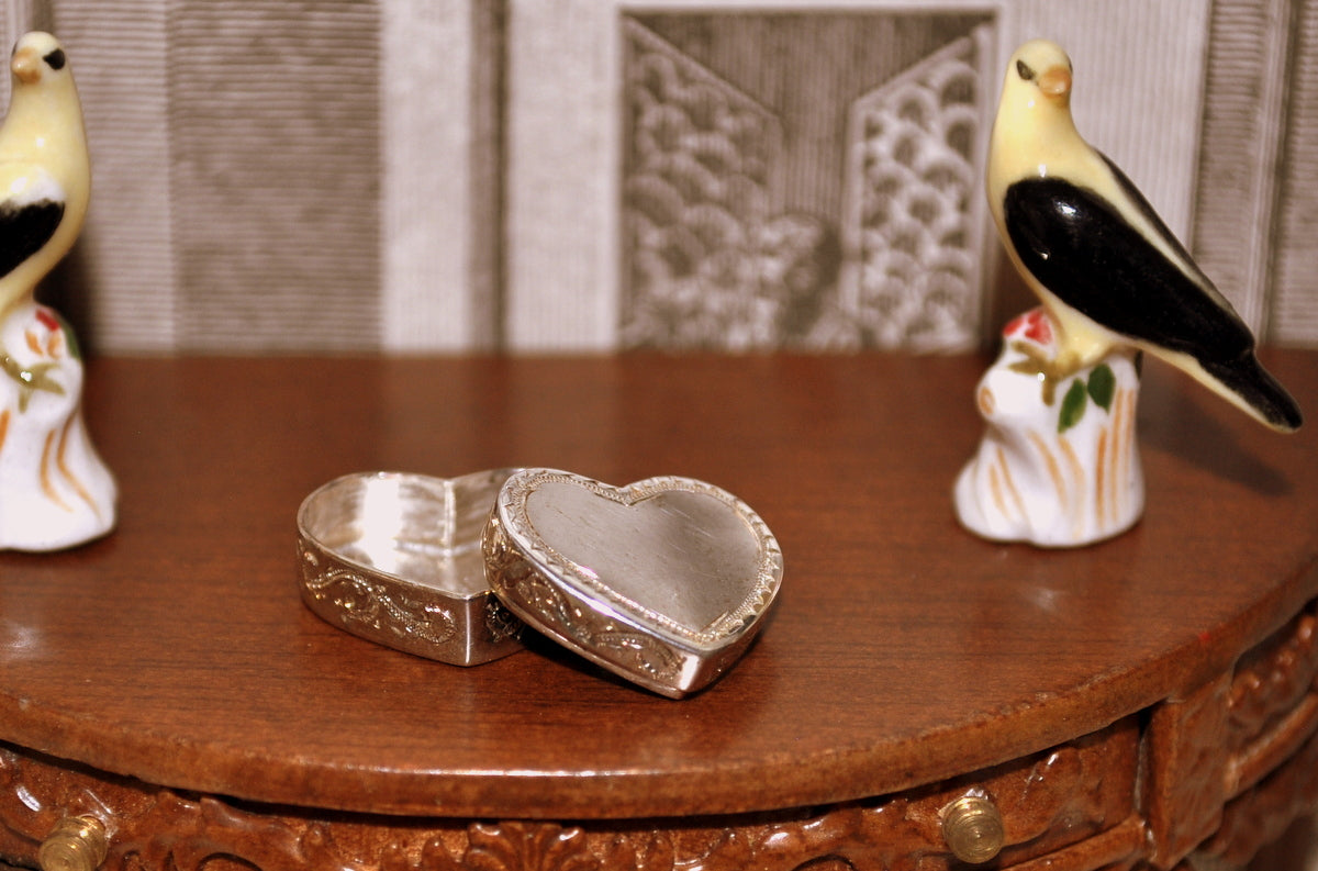 Silver Heart Shaped Keepsake Box with Lid by Hestelle Mare
