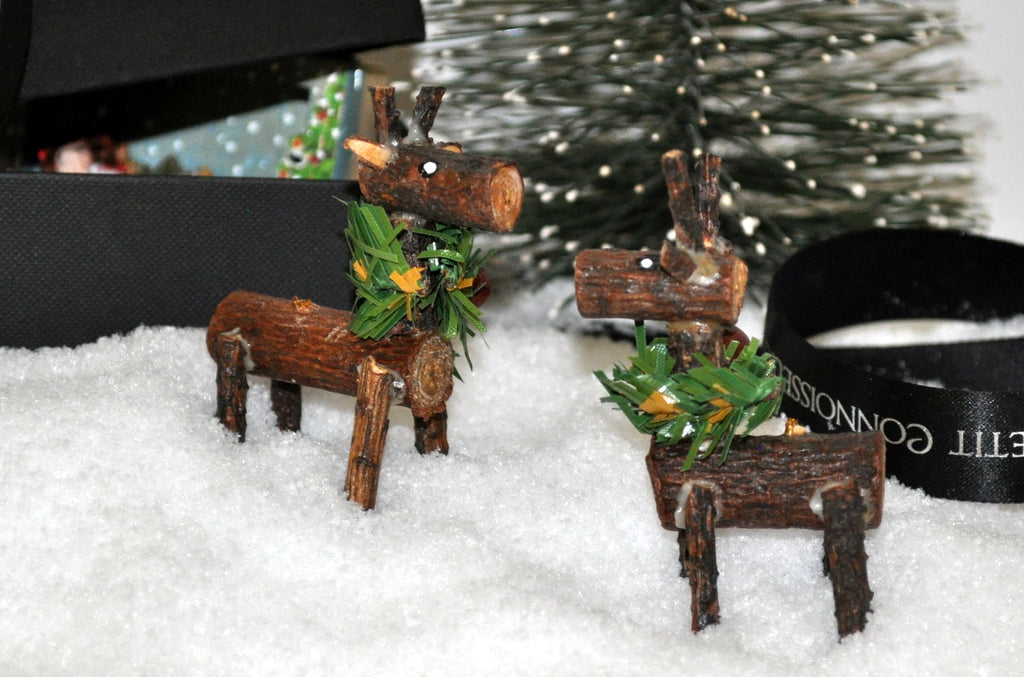 ESTATE TREASURE: Pair of Rustic Wooden Log Reindeers