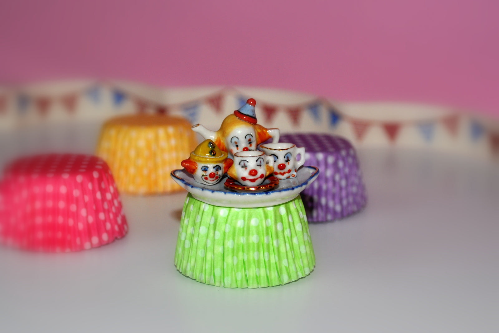 Hand-painted Clown Tea Set for One by Elmarie Wood-Callander