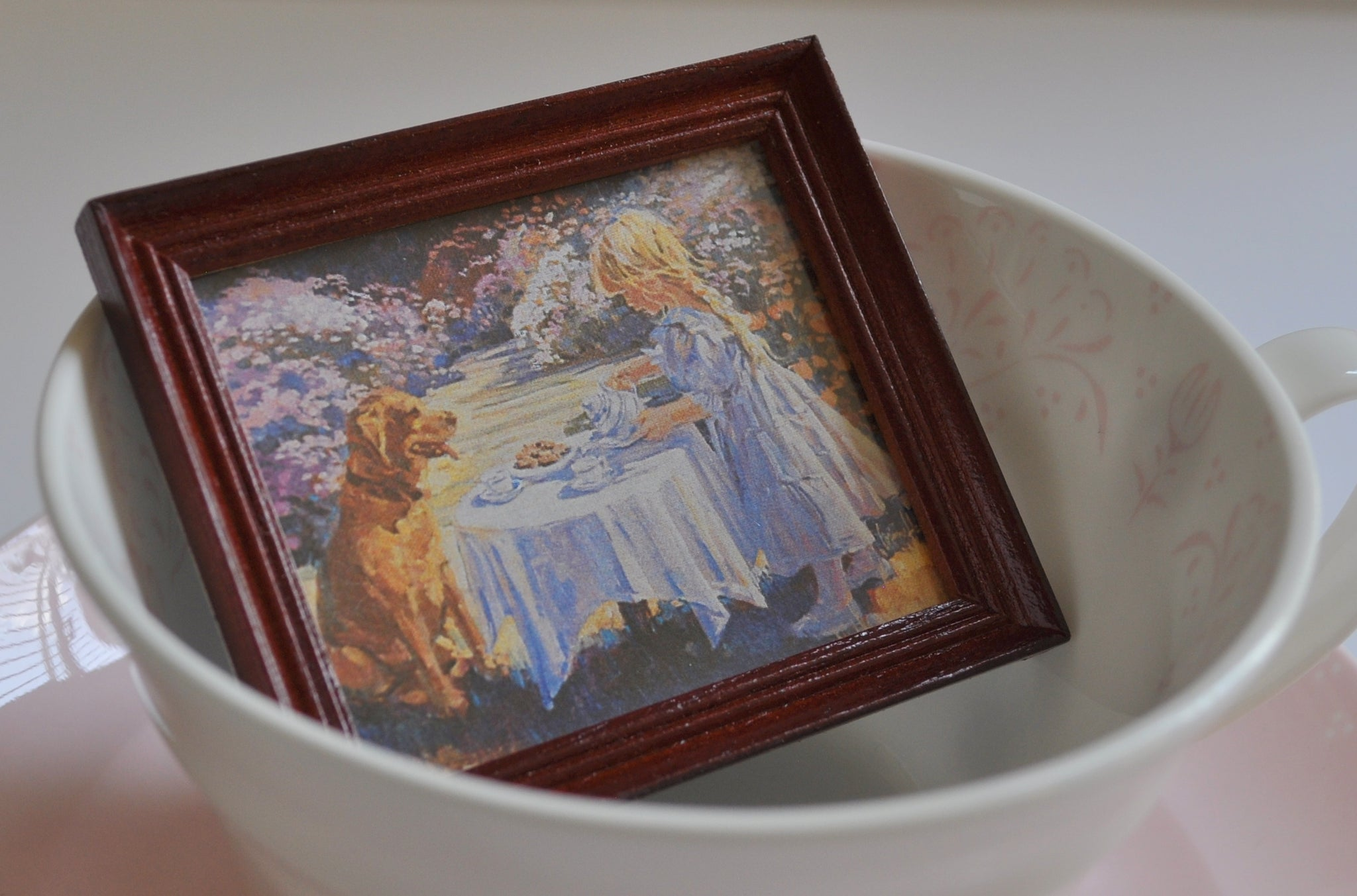"ESTATE TREASURE: Framed ""Tea for Two"" Print by Jacqueline's"