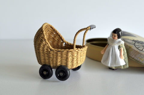 ESTATE TREASURE: Wicker Doll's Pram by Sue Farmer