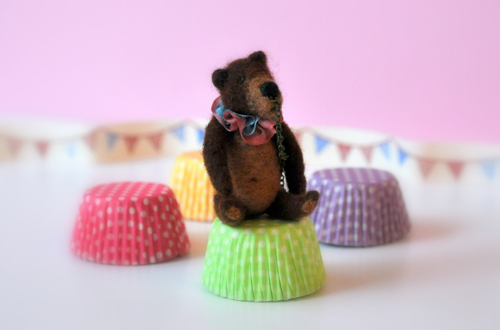 Needle Felted Circus Bear Toy by Elmarie Wood-Callander