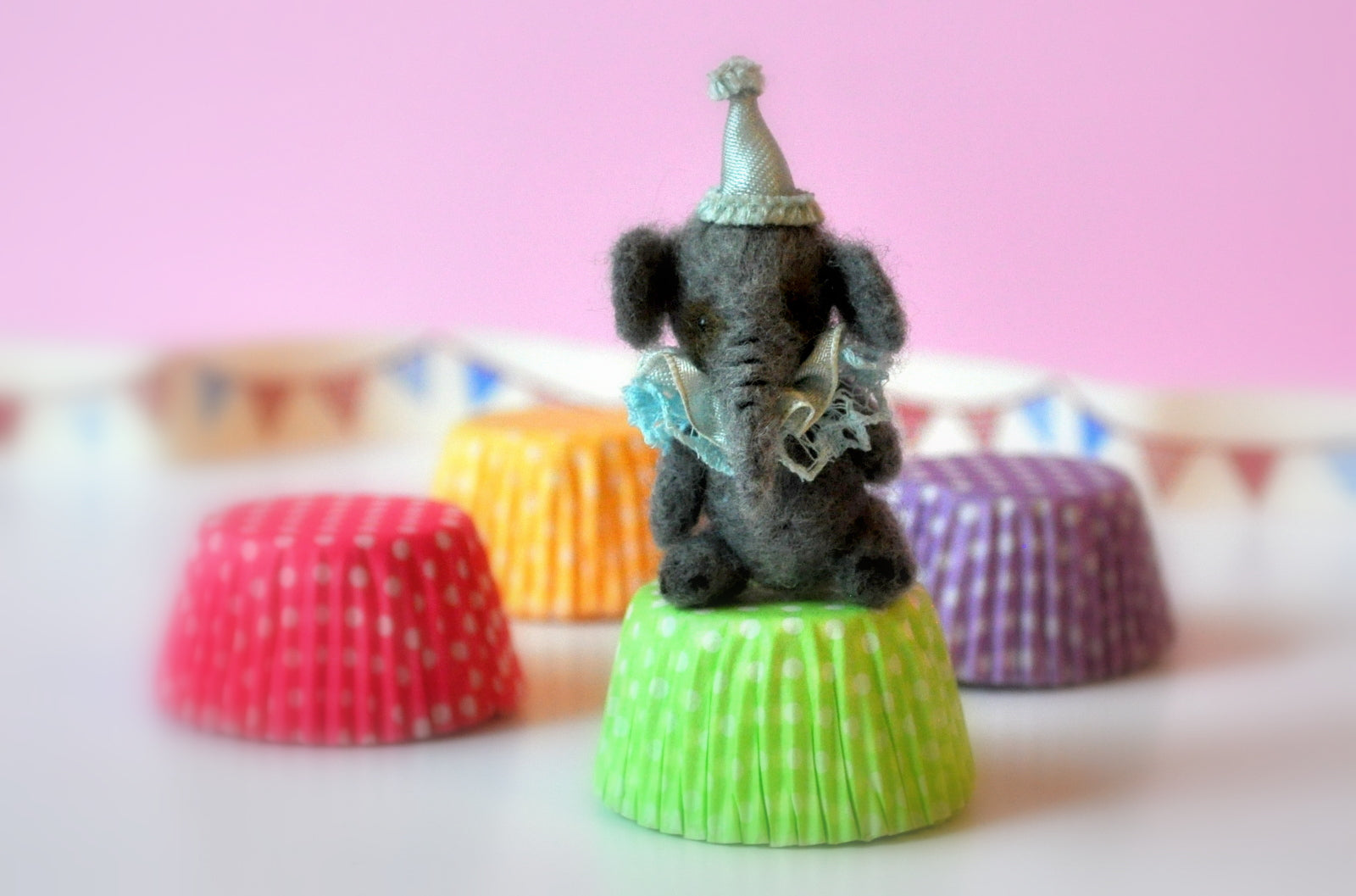 Needle Felted Circus Elephant Toy by Elmarie Wood-Callander