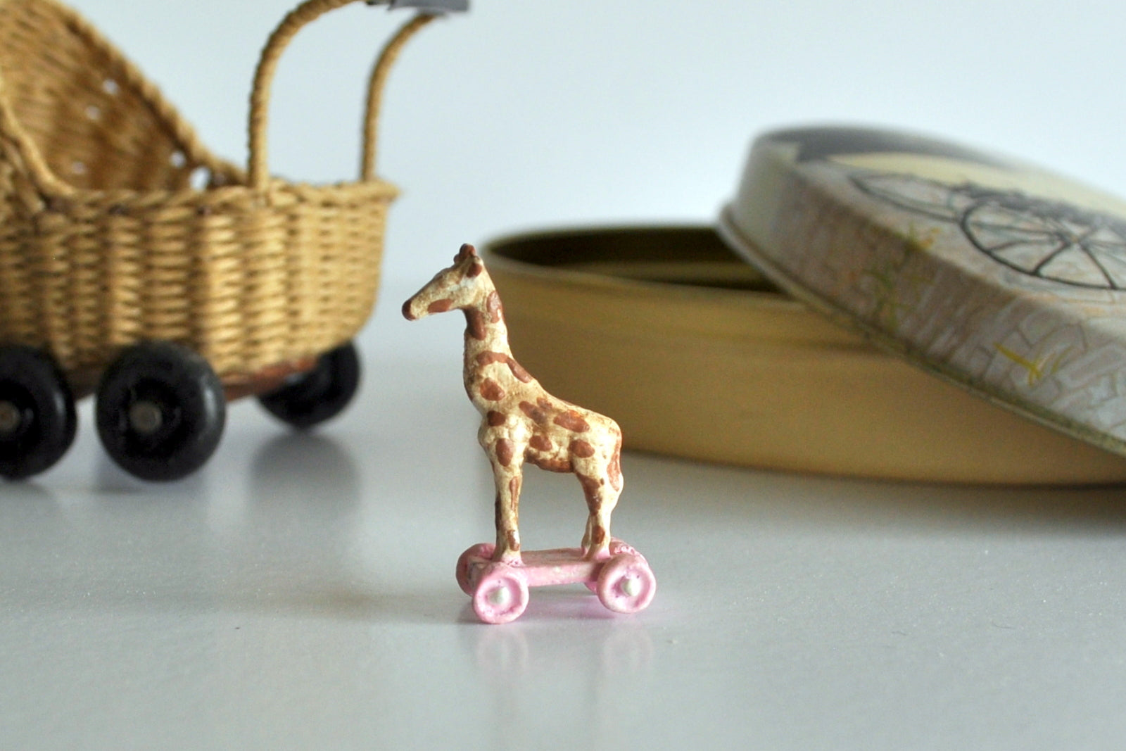 ESTATE TREASURE: Hand Painted Giraffe on Non Working Wheels by Katie Arthur