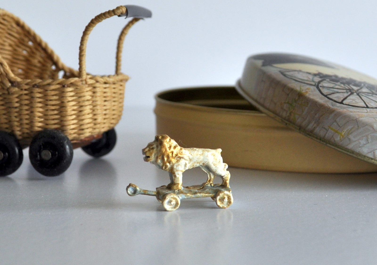 ESTATE TREASURE: Hand Painted Lion on Non Working Wheels by Katie Arthur