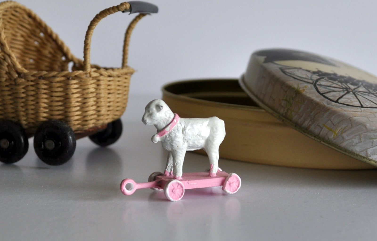 ESTATE TREASURE: Hand Painted Sheep on Non Working Wheels by Katie Arthur