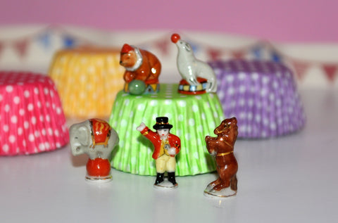 Hand-painted Circus Set of Five Porcelain Figurines #1 by Elmarie Wood-Callander