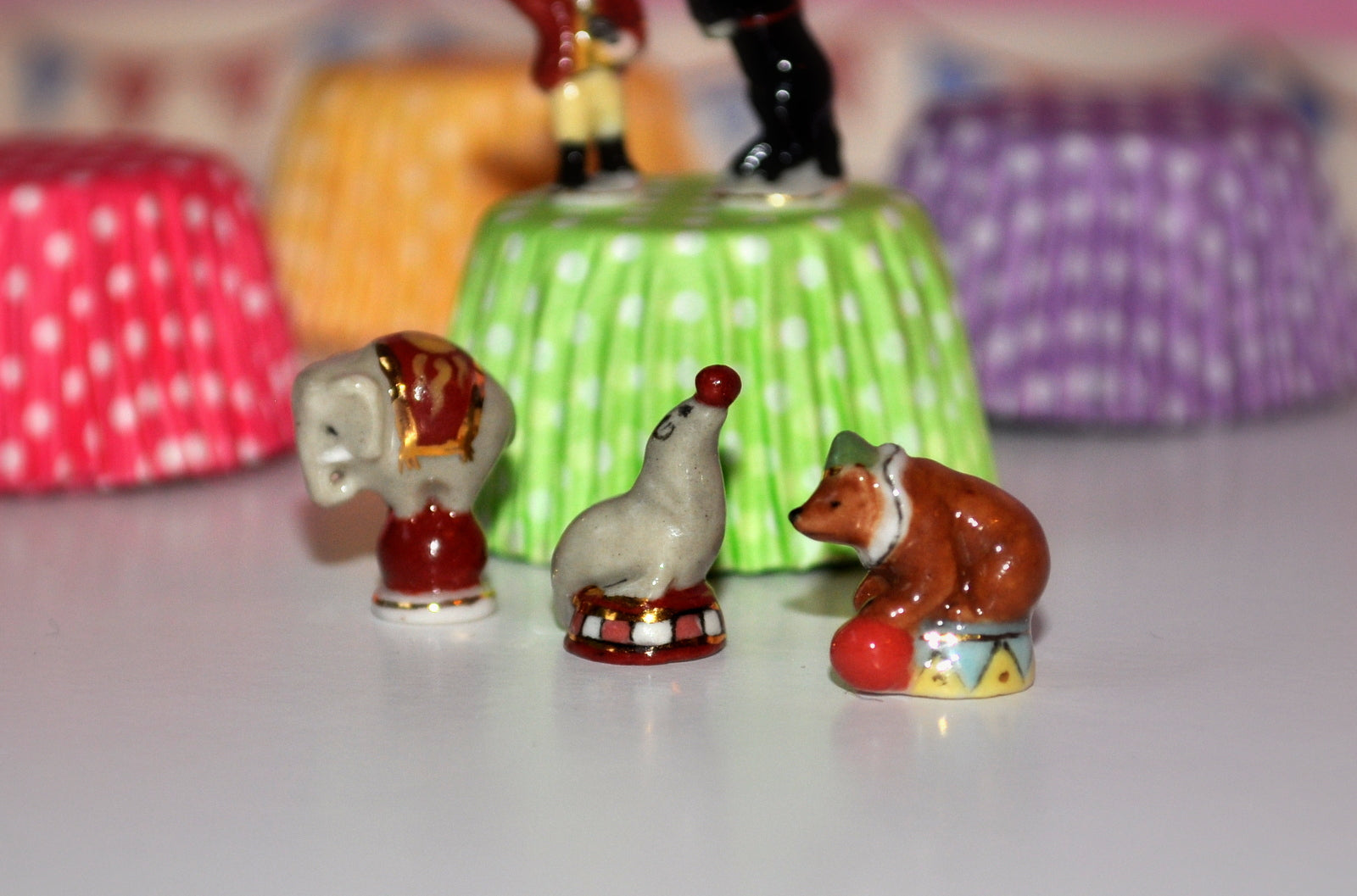 Hand-painted Circus Set of Five Porcelain Figurines #2 by Elmarie Wood-Callander