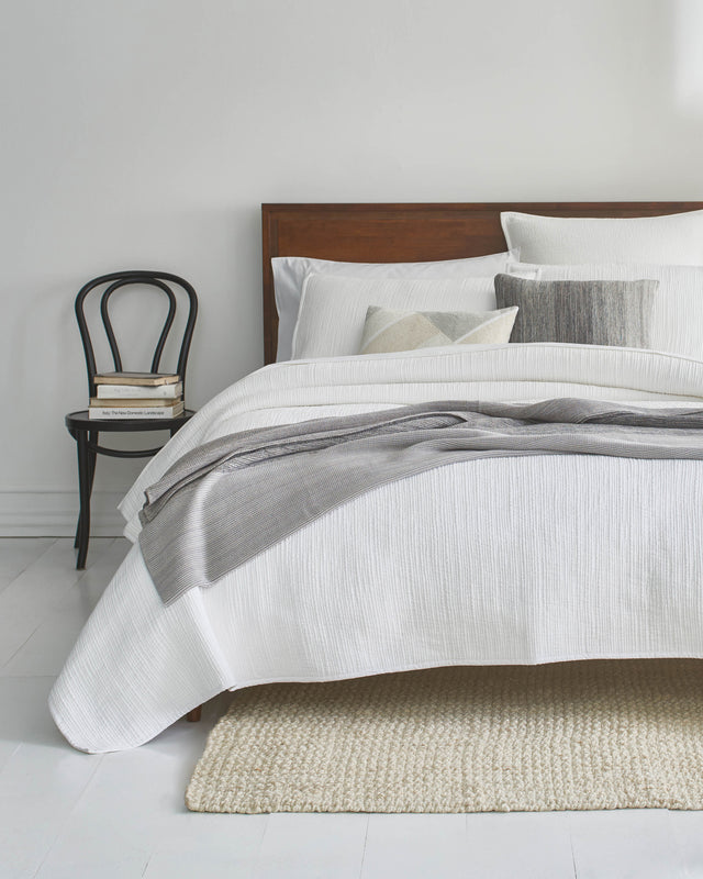 Variegated White Reversible Bed Sham