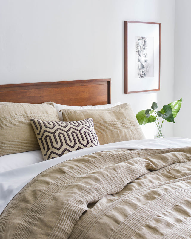 Birch Pleated Linen Duvet