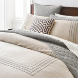 Mosaic Embroidered Frame Duvet, modern bedding