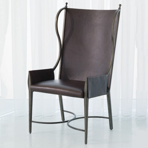 Global Views Iron/Leather Wing Chair