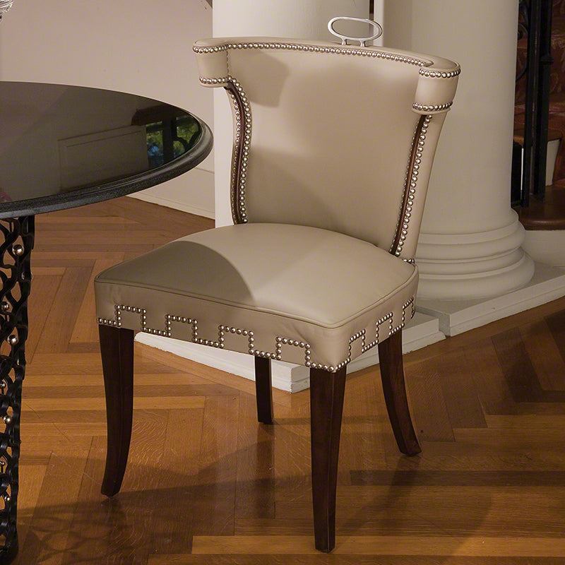 Global Views Casino Chair Beige Leather With Nickel Tacks