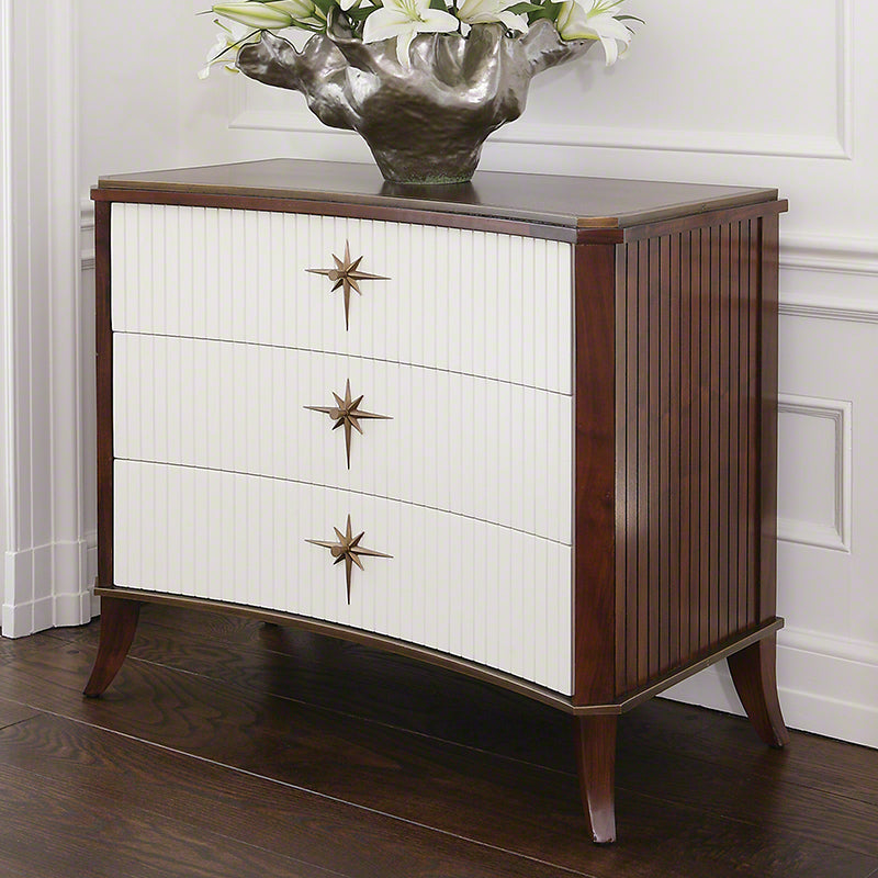 Global Views KliSmallos 3 Drawer Cabinet Walnut With Ivory Doors