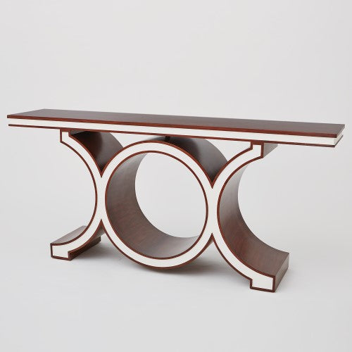 Global Views Floating Link, Walnut and Ivory Lacquered Console