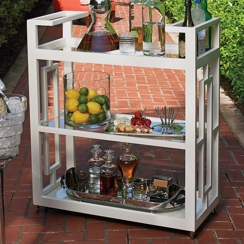Global Views White Lacquered Architectural Floating Grid Cart